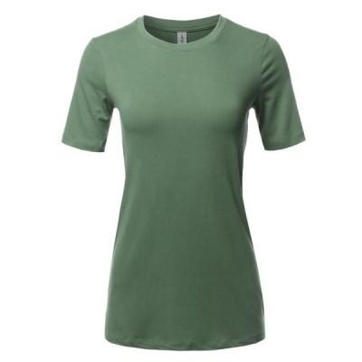 レディース 衣類 トップス A2Y Women's Basic Solid Premium Cotton Short Sleeve Crew Neck T Shirt Tee Tops Light Olive S