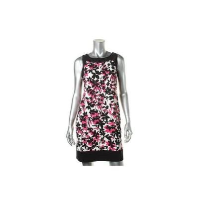 ジェシカハワード ドレス ワンピース Jessica Howard 5475 レディース ブラック フローラル プリント カジュアル ドレス Petites 10P BHFO
