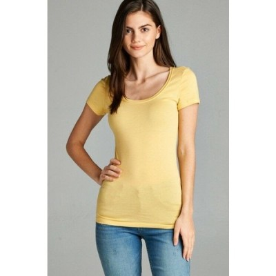 Tシャツ レディース エーシー L  YELLOW Women Basic Sleeve Stretch Scoop Neck Plain Top Solid Color T Shirt (1XL 3XL)