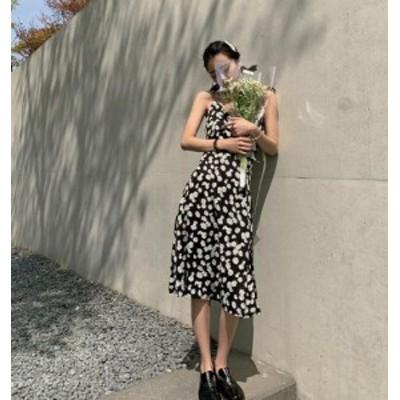 【取り寄せ】レディース キャミソールワンピース キャミワンピ ミモレ丈 花柄 フラワープリント 可愛い セクシー フェミニン おしゃれ デ
