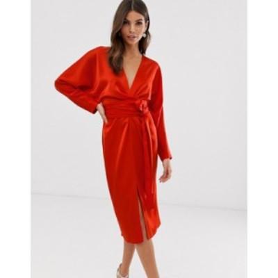 エイソス レディース ワンピース トップス ASOS DESIGN midi dress with batwing sleeve and wrap waist in satin Red