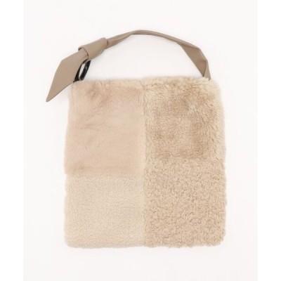 ショルダーバッグ バッグ カシュカシュ cachecache / エコファーパッチワークリボンショルダーバッグ