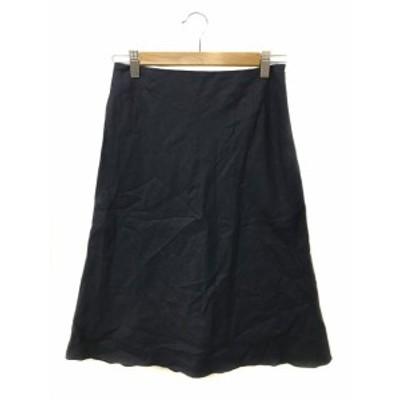 【中古】アナイ ANAYI スカート 台形 ひざ丈 無地 リネン 36 紺 ネイビー レディース