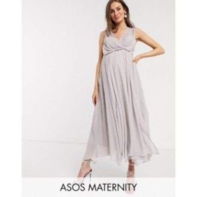 エイソス レディース ワンピース トップス ASOS DESIGN Maternity drape bodice midaxi dress embellished Lilac