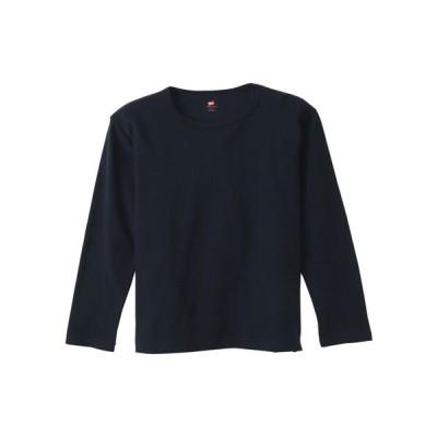 Hanes/ヘインズ クルーネックロングTシャツ ネイビー M