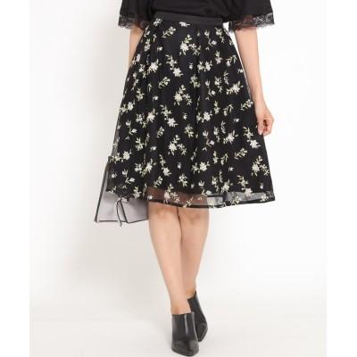 【ケティ】 チュール刺繍花柄スカート レディース ブラック S(1) ketty