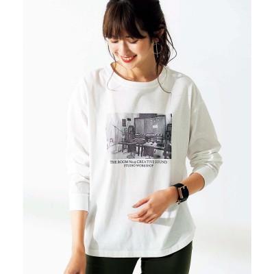 ジーラ GeeRA プリントゆるシルエットTシャツ (フォト×オフ白)