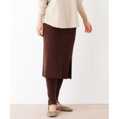 【洗える】【毛玉ができにくい】レギンス付きニットスカート