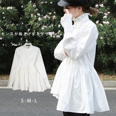 シャツ  ミディアム丈 アウター 長袖   ブラウス トップス シャツ シンプル ゆったり ふんわり 着痩せ bj-ab-017