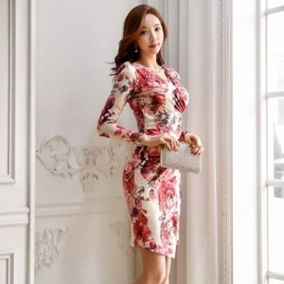 キャバ ドレス キャバドレス ミディアムドレス カシュクール ストレッチ タイト ボディライン 薔薇 グラマラス アイボリー S M L XL