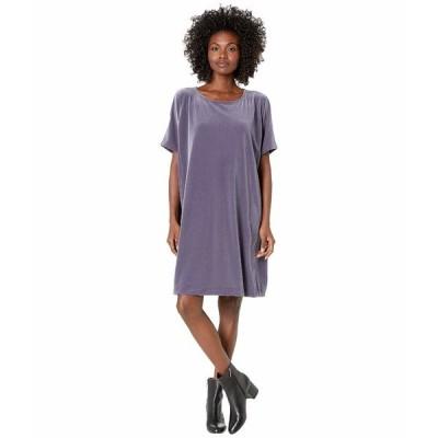 エイリーンフィッシャー ワンピース トップス レディース Recycled Polyester Stretch Velvet Round Neck Knee Length Dress Blue Shale