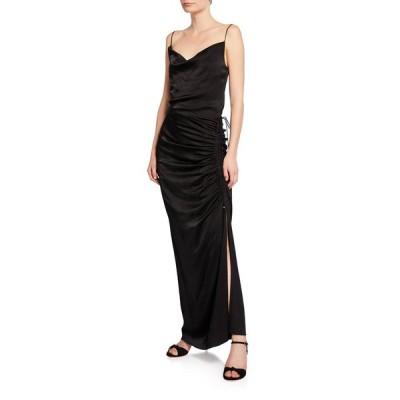 ヴェロニカ ベアード レディース ワンピース トップス Natasha Cowl-Neck Sleeveless Ruched Satin Dress