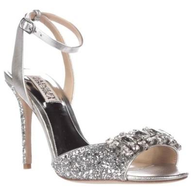 レディース 靴 サンダル Womens Badgley Mischka Amanda II Sparkle Ankle Strap Dress Sandals - Silver Glitter