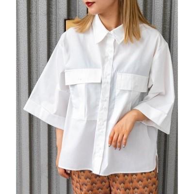 シャツ ブラウス フラップポケットシャツ