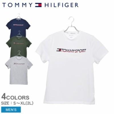 【ゆうパケット可】トミーヒルフィガー 半袖 Tシャツ メンズ ロゴTシャツ 白 ホワイト グレー TOMMY HILFIGER S20S20005 トップス スポ
