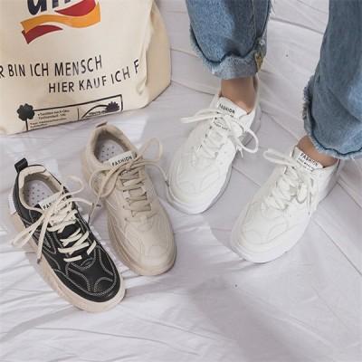 レディース スニーカー カジュアルシューズ ウォーキング ランニング 白黒 女子靴 運動靴