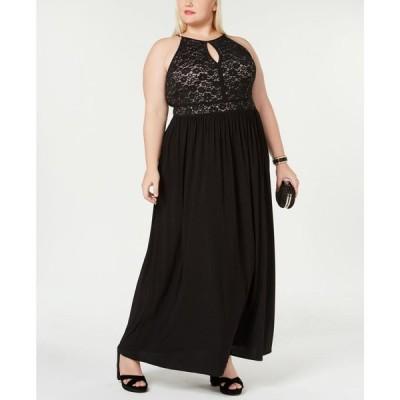 モルガン Morgan & Company レディース パーティードレス ワンピース・ドレス Trendy Plus Size Lace-Bodice Gown Black/Nude