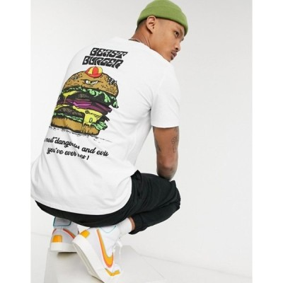 ゲス メンズ シャツ トップス Guess beast burger t-shirt in true white