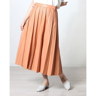 ランダ RANDA フェイクレザープリーツスカート (ORANGE)