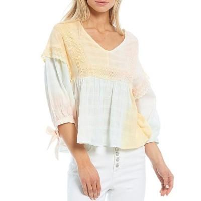 エラモス レディース シャツ トップス Michaela Multi Color V-Neck Lace Trim Details Puff Tie Sleeve Cotton Blouse