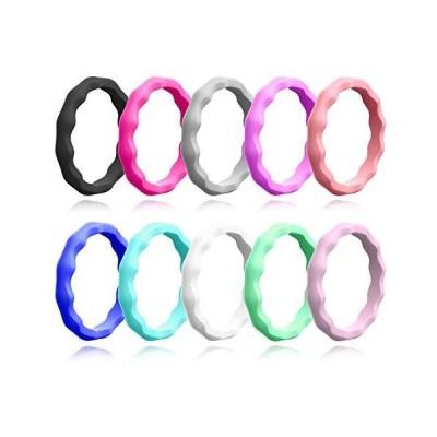 ALEXTINA Set of 10 Thin Wave Ring Midi Kuckle Ring Silicone Stacking Rings