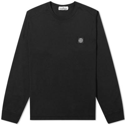ストーンアイランド Stone Island メンズ 長袖Tシャツ ロゴTシャツ トップス Long Sleeve Patch Logo Tee Black