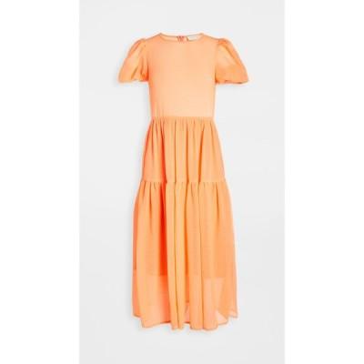 ネバーフリードレス Never Fully Dressed レディース ワンピース ティアードドレス ワンピース・ドレス Tiered Midi Dress Orange