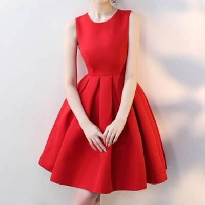 オルチャン 韓国 ファッション パーティードレス ワンピース ひざ丈 リボン フレア Aライン エレガント お呼ばれ 結婚式 二次会