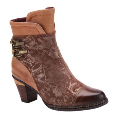 スプリングステップ レディース ブーツ&レインブーツ シューズ Locksto Ankle Bootie Brown Multi Leather/Metallic Printed Microsuede