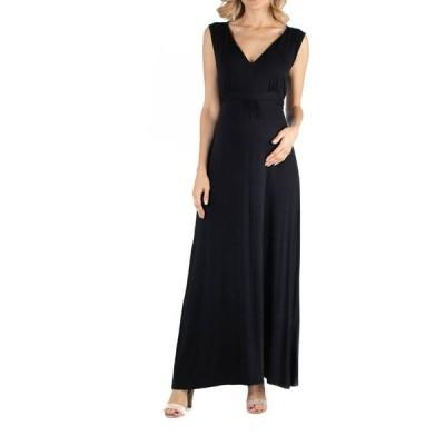 24セブンコンフォート レディース ワンピース トップス V Neck Sleeveless Maternity Maxi Dress with Belt
