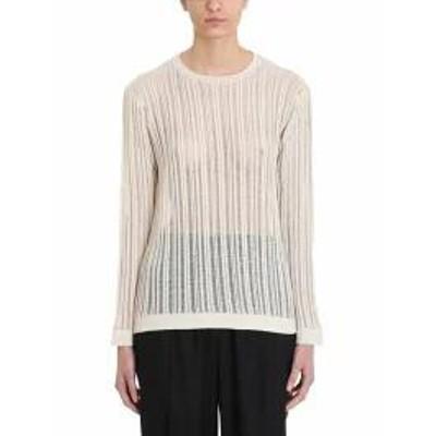 Maison Flaneur レディーストップス Maison Flaneur Knit Beige Cotton Sweater?