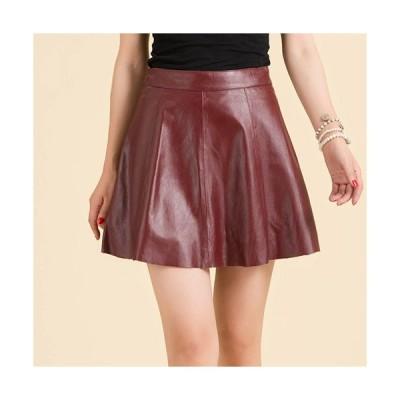 ラムレザースカート Aラインスカート ハイウェスト ショート丈スカート 皮スカート ほっそり美脚 オフィススカート秋冬にぴったり 裾切りっぱなしQZ129