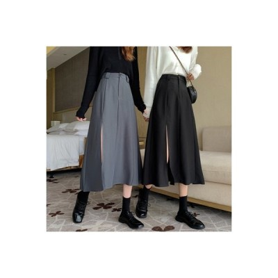 【送料無料】デザイン 感 スプリット スカートと長いセクション 女 秋 韓国風 ハイ | 364331_A63626-0345565