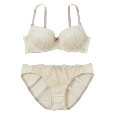 ニュアンスカラーフラワーレース ブラジャー・ショーツセット(F80/LL) (ブラジャー&ショーツセット)Bras & Panties