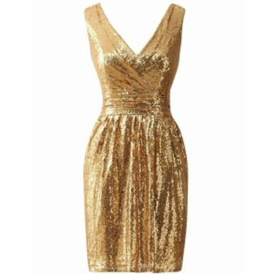 Gold ゴールド ファッション ドレス JAEDEN Womens Dress Gold Size XL Sheath Sequin Surplice Sleeveless