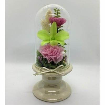 プリザーブドフラワー/お供え用 仏花 ガラスドーム付 お花(ピンク・緑・白系)、器(アイボリー)