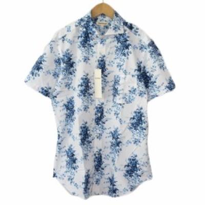 【中古】未使用品 ポールスチュアート PAUL STUART シャツ 花柄 ホリゾンタルカラー 半袖 L 青 ブルー メンズ
