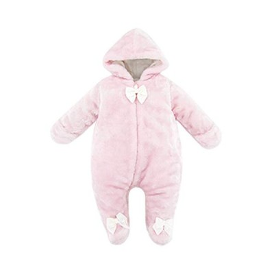 kavkas Cute Baby Warm Hooded Bodysuit for Winter Cotton Snowsuit Outfit, Pink(6-9 Months)