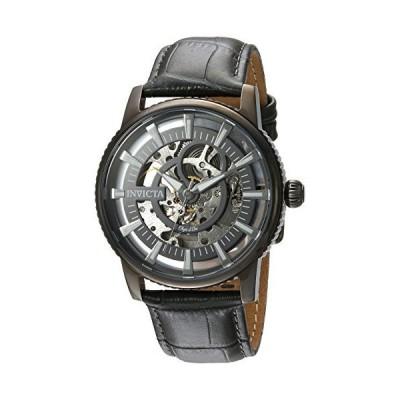 (新品) Invicta Men's Objet d'Art Stainless Steel Automatic-self-Wind Watch with Leather Calfskin Strap, Grey, 22 (Model: 22644)