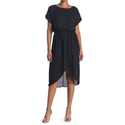 ウエスト ケイ レディース ワンピース トップス Short Sleeve Tie Waist High/Low Dress BLACK