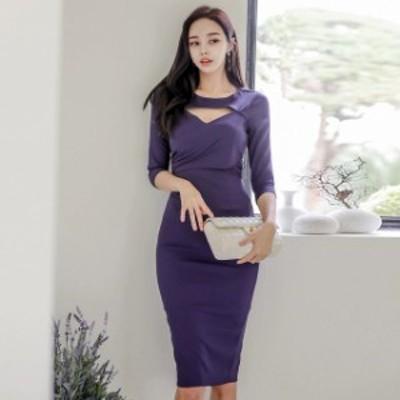 パープル ワンピース ドレス 7分袖 タイトワンピース ミモレ丈 20代 30代 大人 韓国風 セクシー ワンピース 胸元 キャバドレス