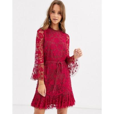 ニードル アンド スレッド Needle & Thread レディース ワンピース ミニ丈 embroidered flippy hem mini dress with fluted sleeves in red レッド