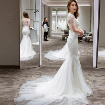 ウェディングドレス 大きいサイズ マーメイド ウェディングドレス 袖あり 白 二次会 花嫁 フィッシュテール 刺繍 レース チュール
