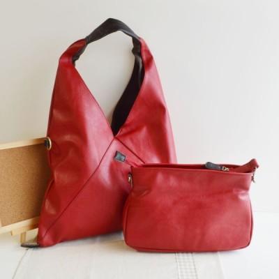 Aライントートバッグ PUレザー ポーチ付き ワインレッド WINE 3Wayシンプルトートバッグ (鞄 かばん カバン bag) IMAI BAG No.11097 カジュアルバッグ