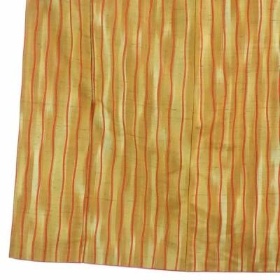 リサイクル着物 紬 正絹金茶地よろけ縞袷紬着物