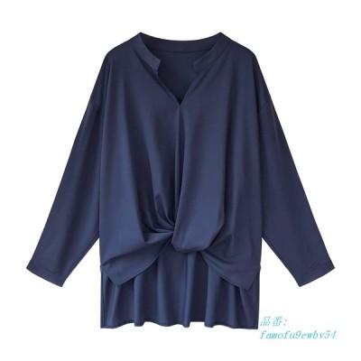 サイズ M 4XL 女性 夏ブラウスツイストソリッドブラウス長袖シャツ女性 Camisas Femininas 女性はシンプルシフォンシャツ グループ上 レディース衣服 から