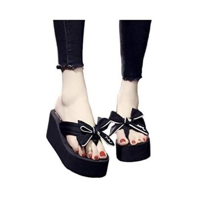 [ココマリ] 厚底 サンダル レディース リボン 歩きやすい 軽量 おしゃれ ビーチサンダル 美脚 靴 シューズ (ブラック 24.0 cm)