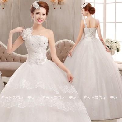 ウエディングドレス 二次会ドレス プリンセスラインドレス 大きいサイズ 結婚式 ウェディングドレス 花嫁ドレス ロングドレス 安い イベント 編み上げ ホワイト
