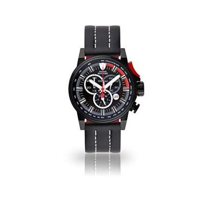 DETOMASO BOTTONE Men's Quartz Watch with Black Dial Chronograph Display and Black Leather Strap DT1064-B-937 並行輸入品