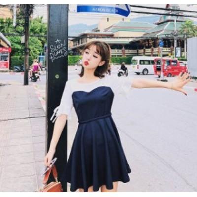 韓国 ファッション レディース ワンピース ミニ丈 ドッキング フレア リボン ハイウエスト  バイカラー 透け感 ガーリー 半袖 ゆったり